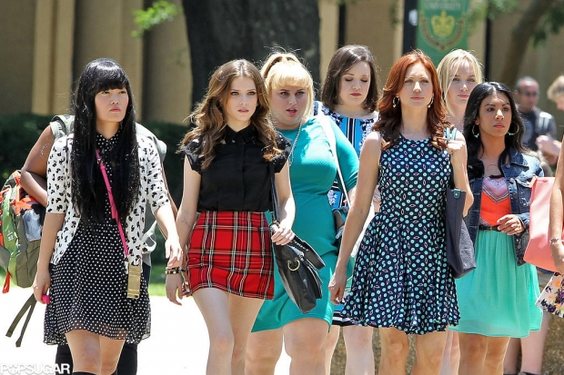 """""""Pitch Perfect 2"""" Stars Anna Kendrick, Rebel Wilson, and Brittany Snow On Set With Fellow Members of the Barden Bellas"""