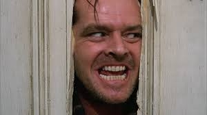 """Jack Nicholson as Jack Torrance in an iconic scene from Stephen King and Stanley Kubrick's """"The Shining"""""""