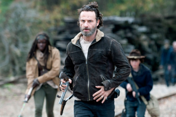 "Andrew Lincoln as Rick Grimes in a still from the season 4 finale of ""The Walking Dead"""