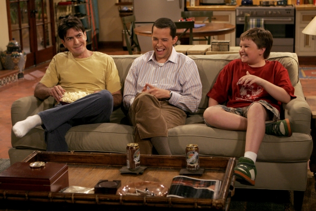 """The original cast of """"Two and a Half Men,"""" featuring Charlie Sheen"""