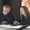 "Philip Seymour Hoffman and Julianne Moore in a still from the new trailer for ""The Hunger Games: Mockingjay, Part One"""
