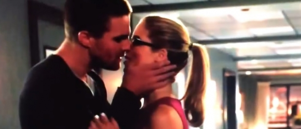 Oliver and Felicity share a kiss in the new TV spot