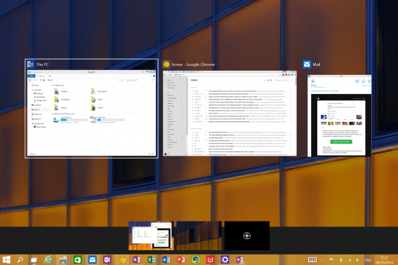 The Multiple windows feature of the new Windows 10